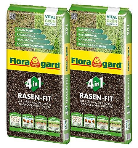Floragard 4 in 1 Rasen-Fit 2x20 L für 20 m² • Rasenerde • Rasensubstrat zur Neuanlage • zur Ausbesserung und Pflege des Rasens • zum Topdressing nach dem Vertikutieren