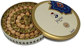 Muhtar Sweets Premium Quality Baklava Kol W Shkor pistachios Assortment (28.2 Oz Net) - Middle Eastern Petit Gourmet Sweets Gift Box - Arabic, Turkish, Syrian, Lebanese.