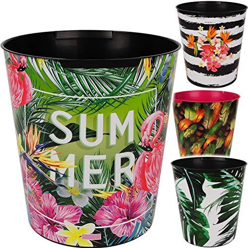 4 Stück _ Papierkörbe / Behälter - Motiv-Mix - Pflanzen & Blumen - 10 Liter - wasserdicht - aus Kunststoff - Ø 28 cm - großer Mülleimer / Eimer - Abfalleimer ..