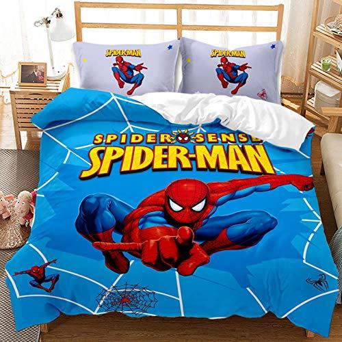 BLSM – Juego de cama animado de Spiderman 2/3 piezas con funda nórdica para niños, 100 % microfibra, para niños, niñas, adultos, dormitorio y apartamentos (C,220 x 240)