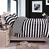 NTBAY 3 Pieces Duvet Cover Set Black and White Stripe Printed Microfiber Reversible Design(Full/Queen, Stripe)