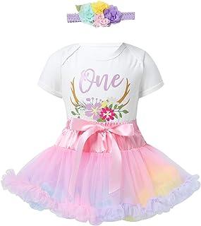 winying Baby Mädchen 1. Geburtstag Outfits Festlich Kleidung Set Kurzarm Body Strampler Mini Tutu Rock Blumen Stirnband für Party Taufe Fotoshooting