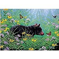 QMGLBG 5Dダイヤモンド塗装 花植物小さな黒いクマ風景ダイヤモンド塗装クロスステッチアーティスト家の装飾用品30*40cm