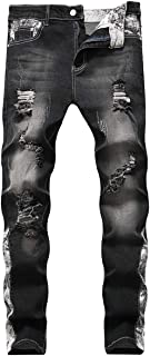 Mens Ripped Jeans Embroidery Print Straight Fit Distressed Holes Denim Pants