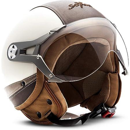 Soxon Sp 325 Imola Jet Helm Motorrad Helm Roller Helm Scooter Helm Moped Mofa Helm Chopper Retro Vespa Vintage Pilot Biker Helmet Brille Ece 22 05 Visier Schnellverschluss Tasche Xs 53 54cm Auto