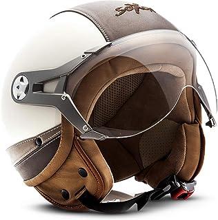 "Soxon® SP 325 Urban ""Creme"" · Jet Helm · Motorrad Helm Roller Helm Scooter Helm Moped Mofa Helm Chopper Retro Vespa Vintage Pilot · ECE 22.05 Visier Leather Design Schnellverschluss Tasche M (57 58cm)"