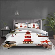 GUUVOR Nautical Pure Bedding Hotel Luxury Bed Linen Nautical Theme Elements Seagull Boat Lighthouse Shell Starfish Island Watercolor Style Polyester - Soft and Breathable (Queen) Multi