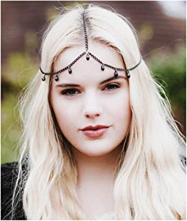 Drecode Baroque Tassel Head Chains Jewelry Dainty Headband Fashion Crystal Pendant Hair Accessories for Women and Girls (Black)