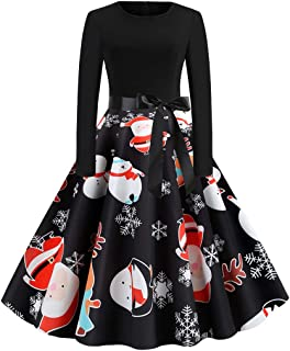 TOPBIGGER Women Halloween Dresses A-Line Long Sleeve Halloween Casual Flare Swing Dress