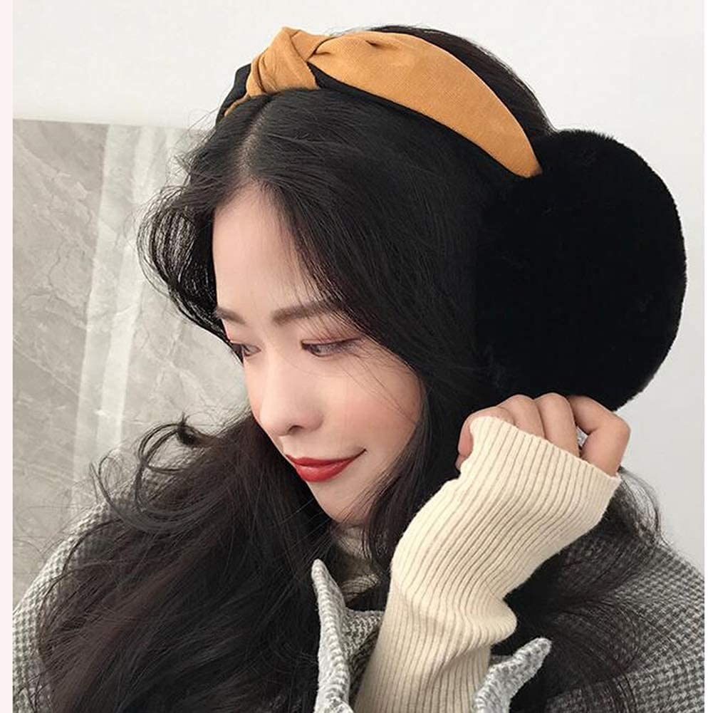 Hitc Winter Ear Muffs,Patched Color Headband Earmuffs Soft,Cute Foldable Outdoor Ear Warmers for Women Girl