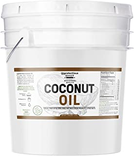 Coconut Oil (1 gallon) by Unpretentious Baker, Resealable Bucket, 100% Pure For Cooking, Hair, Skin, Refined, Filtered, Food & USP Grade, Non-Hydrogenated, Flavorless & Scentless, Non-GMO