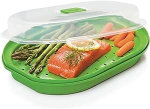 Prep Solutions by Progressive Microwavable Fish and Veggie Steamer, Steam Vent, Vegetable Steamer, BPA FREE, Dishwasher Safe