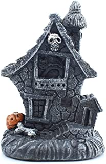 TawSrBia Skull Head Haunted House with Light Halloween Decorations House Pumpkin Skull Scary Cottage Crafts Home Decor A