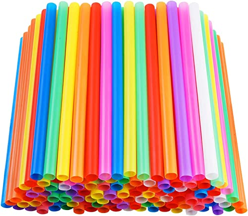 """200 PCS Jumbo Smoothie Straws, Colorful Disposable Plastic Large Wide-mouthed Milkshake Straw (0.43"""" Diameter and 8.2..."""