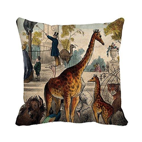 Warrantyll Taie d'oreiller girafes dans Le Zoo Couvre-lit Taie d'oreiller Maison Canapé Coussin décoratif, Toile, Color 1, 18 * 18