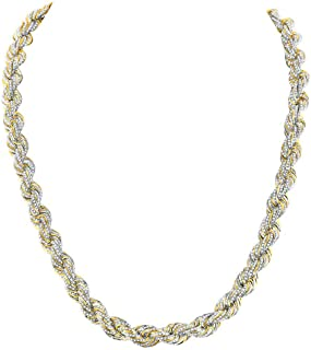 Dazzlingrock Collection 10kt Yellow Gold Mens Round Diamond Rope Chain Necklace 19-7/8 ctw