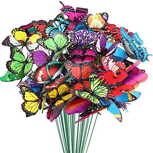24 Pieces Garden Butterflies Stakes, Colourful Garden Butterflies Ornaments for Outdoor Wall Art, Plant Decoration, Garden, Yard, Patio, Party Decor