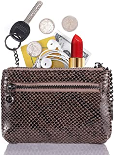 Women's Coin Pouch Purse 3 Zippered Genuine Leather Small Change Holder Wallet Purse RFID Blocking Card Wallet with Key Chain (Grey)