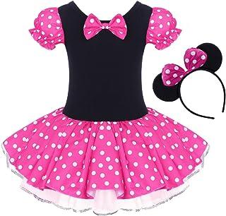 IBTOM CASTLE Toddler Girl Polka Dots Party Fancy Costume Birthday Tutu Dress up Dance Leotard Gymnastic Cosplay Gown w/Mouse Ear Headband Rose 4-5 Years