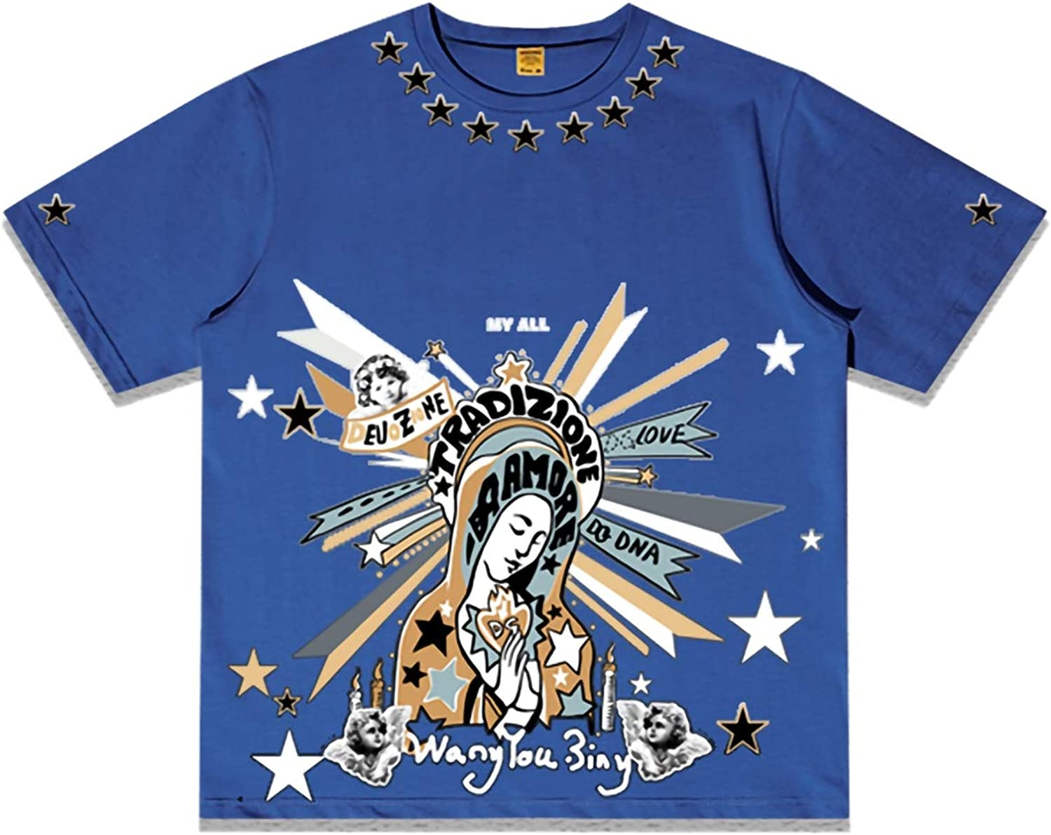 Blessed Virgin Mary Short Sleeve TShirt Fashion Crewneck Top Tee,6,L