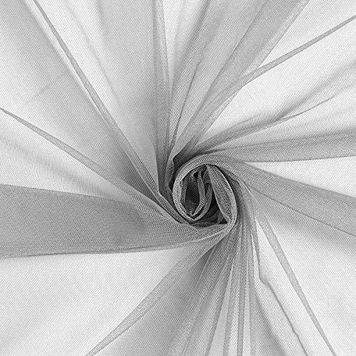 Fabulous Fabrics Tüll grau, Uni, 145cm breit – zum Nähen von Brautschleiern, Petticoats und Röcken - Meterware erhältlich ab 0,5 m