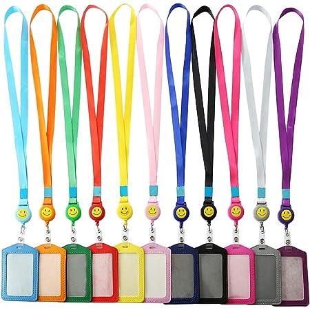 Soleebee 82cm Lanière avec Visage souriant Porte-Badges Porte-Clés Téléphone Mobile Petite Fourniture de Bureau - 11 Pièces
