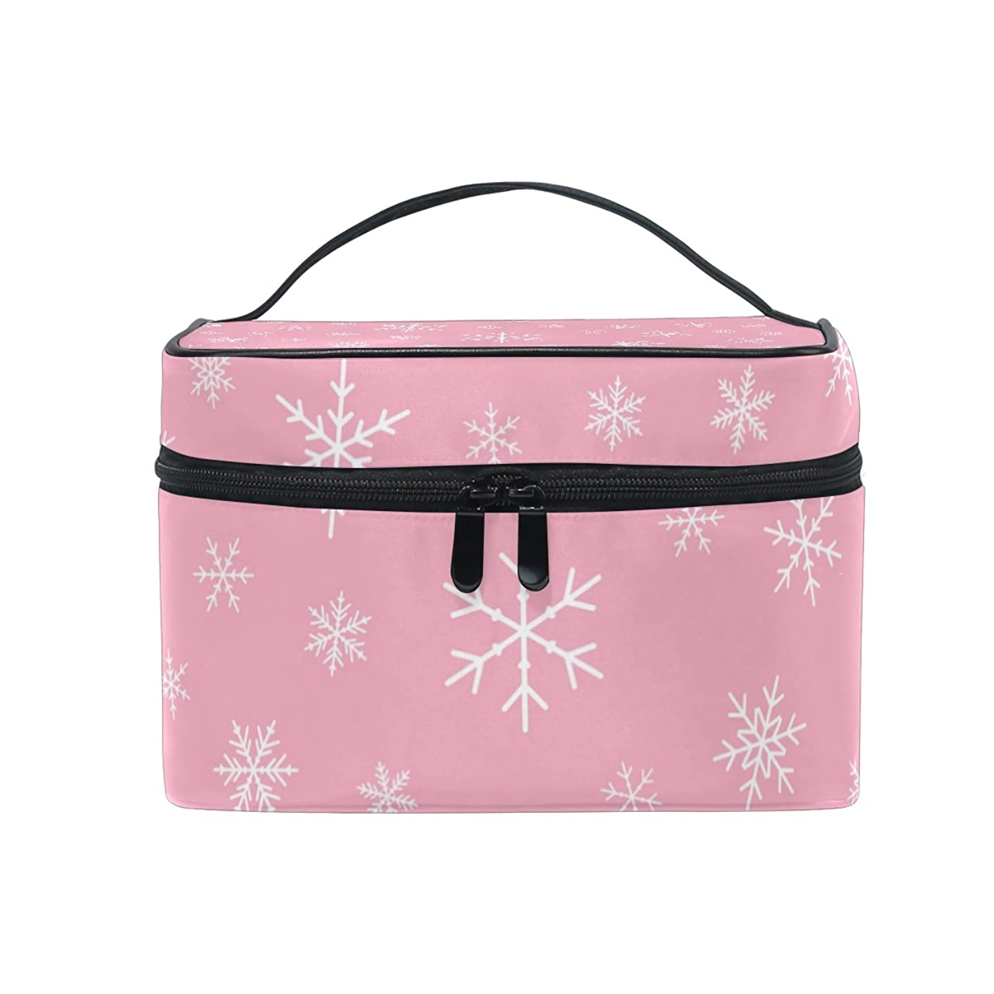 医学汚い邪悪なALAZA 化粧ポーチ 雪柄 ゆき柄 化粧 メイクボックス 収納用品 ピンク 大きめ かわいい