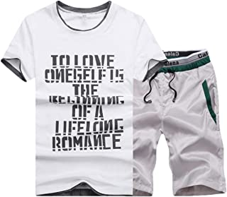 Men's 2 Piece Sport Shorts Set Casual Short Sleeve Tops Short Pants Tracksuit Outfit