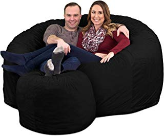 ULTIMATE SACK 6000 Bean Bag Chair w/Footstool: Giant Foam-Filled Furniture - Machine Washable Covers, Double Stitched Seams, Durable Inner Liner, and 100% Virgin Foam Footstool Incl. (Black, Suede)