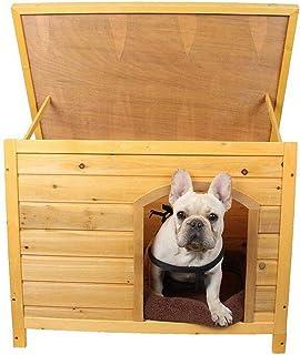 YAMEIJIA Pet Productos de Madera casa Impermeable hermético Caja de la azotea Perro Transpirable mordedura de Madera Maciza casa,L