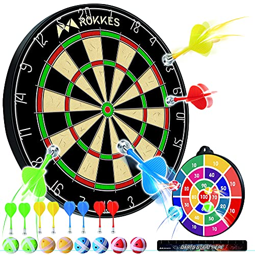 Magnetic Dart Board For Kids - Double Sided Dart Board kit for Kids and Adult , 8pcs Magnetic Dart & 8 Sticky Balls , Safe Indoor Party Games and Classic Toys Gifts For 5 6 7 8 9 10 11 12 Year Old