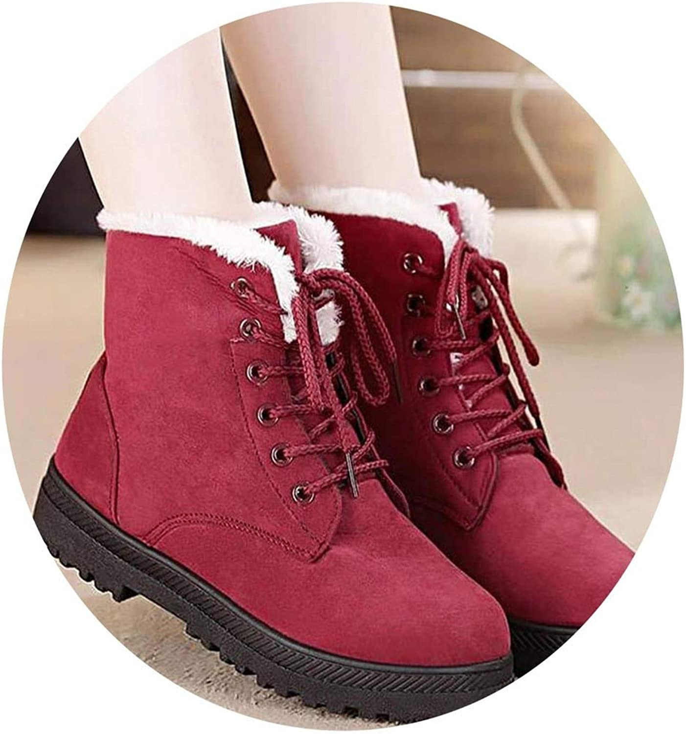 WBeauty Winter Boots Warm Fur Plush Insole Ankle Boots Women shoes hot lace-up shoes Woman