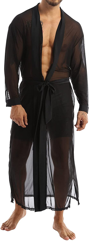 XUNZOO Mens Sexy See Through Mesh Long Sleeve Drape Cape Cardigan Lightweight Belted Bathrobe Spa Robe