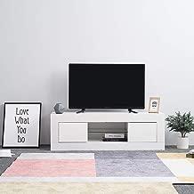 130 cm Keinode mobile per soggiorno e camera da letto Brown /& Black LED con porta con luci a LED lucide Moderno mobile per TV a LED bianco opaco e bianco lucido