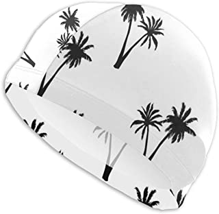 Sprutea Palm Trees Vector Image Personalized Durable Soft Swim Cap Summer Unisex Suitable for Aqua Aerobics