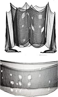 Halloween Black Creepy Cloth ,Spooky Scary Gauze ,for Haunted House Doorway Outdoor Decoration Party Supplies (48 x 240 in.)