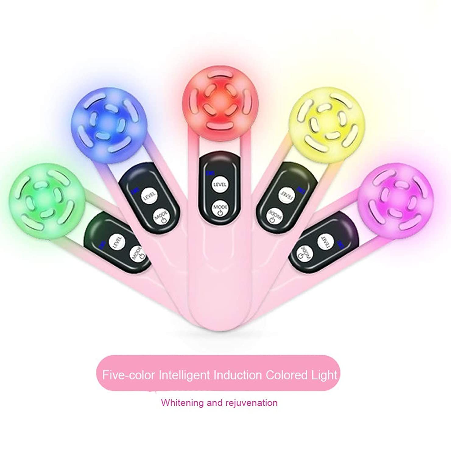 重荷注入する課す5色ライトが付いている顔の持ち上がる機械EMSマッサージャーは浄化の老化防止の多機能の振動美装置イオン顔のマッサージャーのためにつきます,Pink