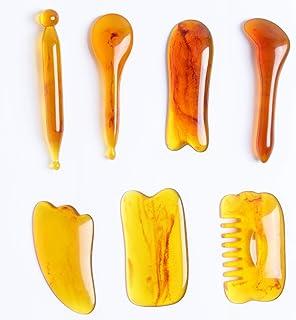 Scratch Massage Tool, Massage Stone,Scrape Therapy,GuaSha,Household Pull Meridian Massage Resinous Scraping Board, Traditional Chinese SPA Skin Facial,7 Piece Set(Yellow)