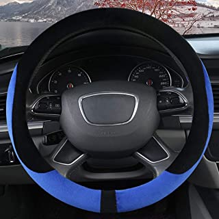 XiXiHao Winter Steering Wheel Cover Size 38CM Fit Mostly Car Auto Warm Plush Heated Warmer Blue
