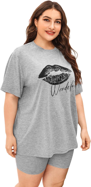 SOLY HUX Women's Plus Size Letter Lip Print Sleepwear Short Sleeve Tee and Shorts Pajama Set