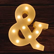 MUMUXI LED Marquee Letter Lights 26 Alphabet Light Up Marquee Number Letters Sign for Wedding Birthday Party Battery Powered Christmas Lamp Night Light Home Bar Decoration (&)