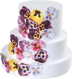 GEORLD 36pcs Edible Pansies Cupcake Toppers & Cake Decoration,Flat not 3D, 7 Colors