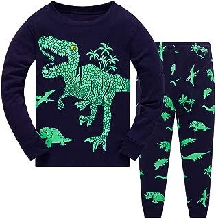 2pcs Kids Unisex Pajamas Set Toddler Boys Long Sleeve Cartoon Dinosaur Tops+ Pants Sleepwear Homedress