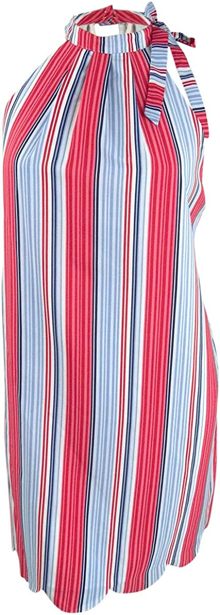 Maison Jules Womens Striped Sleeveless Casual Dress