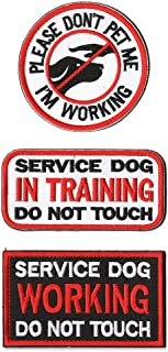 SOUTHYU 3 Pack Service Dog Patches with Hook & Loop Backing - Embroidered Tactical Military Morale Patch Badge - Service Dog Working in Training Do Not Touch Tags for Pet Harness Vest