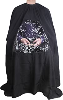 1PCS Visible Hair Cutting Gown Cape With Viewing Window Hairdresser Barber Stylist Hair Cut (BLACK)