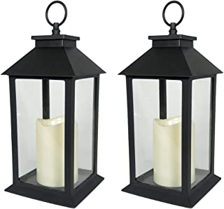 BANBERRY DESIGNS Decorative Black Lantern - Set of 2 Lanterns with LED Candle and 5-Hour Timer - 13