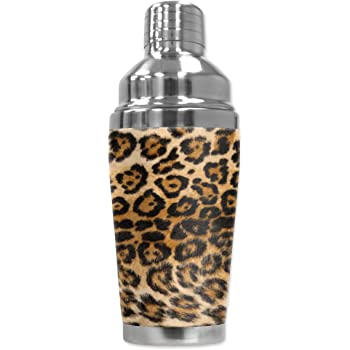 16 oz Black Mugzie 876-SHAMulti Color Leopard Cocktail Shaker with Insulated Wetsuit Cover