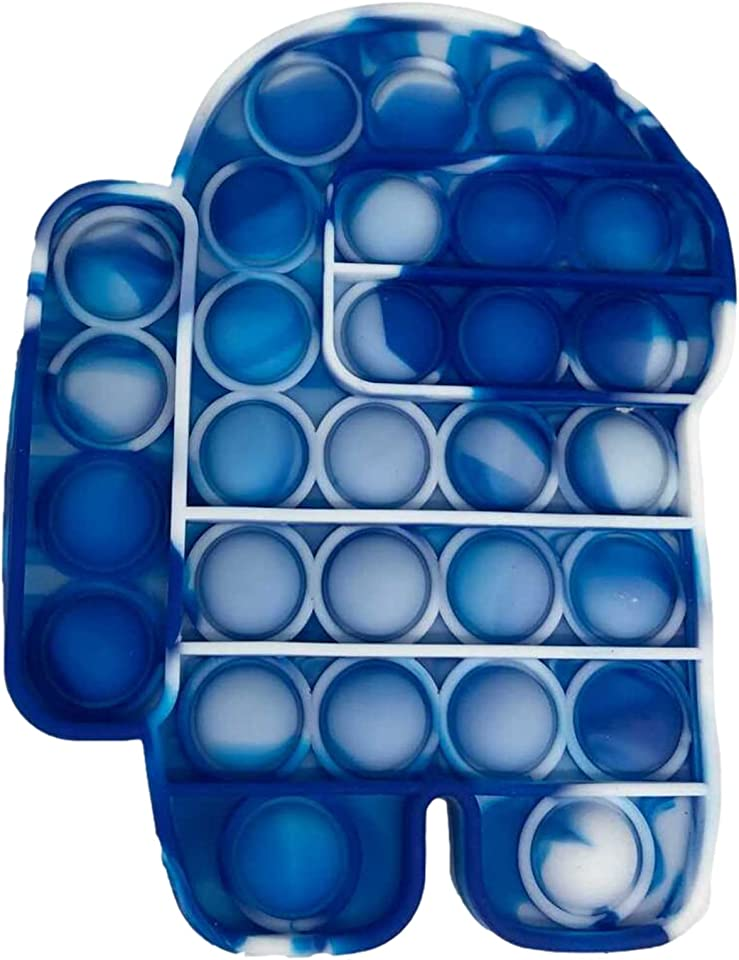 fidget toys Popit Fidget PopperBubble Sensory Fidget Toy, Autism Special Needs Stress Reliever Anxiety Relief Toys, Extrusion Bubble Fidget Sensory Toy (Tie Dye Blue/White Among Us)