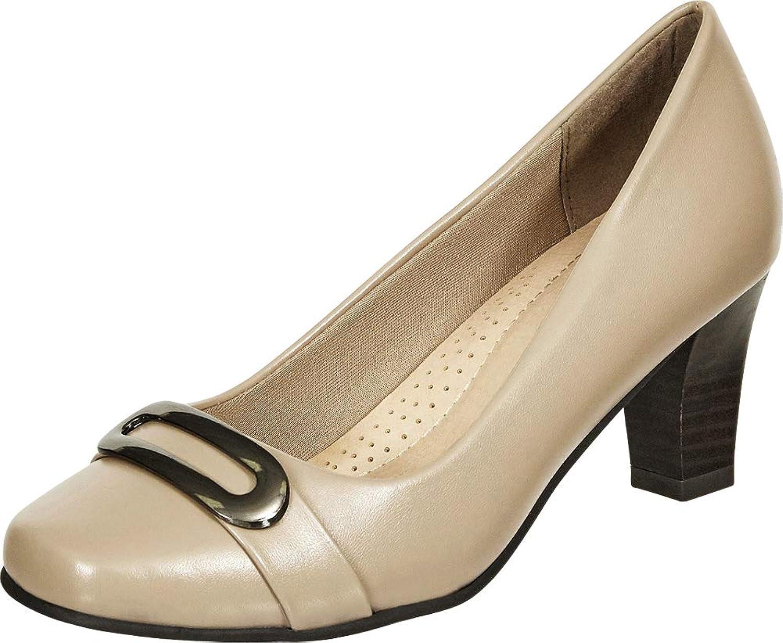 Cambridge Select Women's Square Toe Padded Comfort Chunky Mid Heel Pump